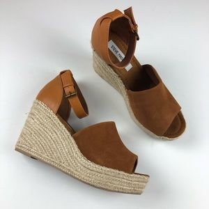 Steve Madden Jaylan espadrille wedge shoe 10 brown